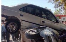 تصادف عجیب چهار خودرو در شهر رفسنجان/پرواز پژو ۴۰۵
